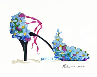 Forget Me Not Flower Shoe Print 2011 - Enhanced with Watercolor paint and signed Brownlee - Wall Art Ships Free