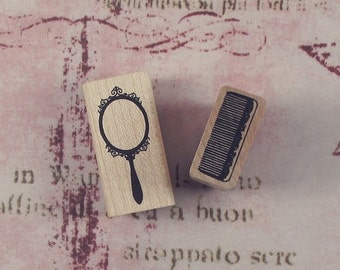 Hand Mirror/Comb Rubber Stamp