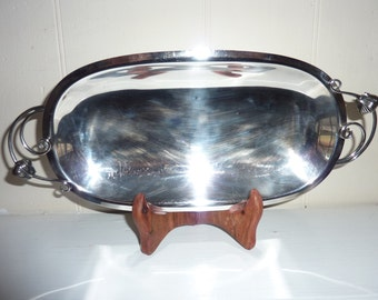 Danish silverplate oval tulip handled bowl