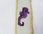 Purple Seahorse cross stitch bookmark