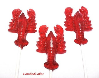 100  LOBSTER LOLLIPOPS - Wedding Favors - Select up to 3 colors and 3 flavors