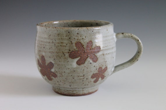 Flower design ceramic mug cup handmade coffee mug pottery mug for Handmade mug designs