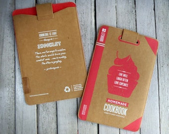 SALE!! iBooklet : Cookbook iPad mini & 7-inch tablet pouch, Book Clutch, Waterproof Pouch