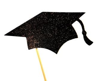 GLITTER Graduation Cap Photo Booth Prop - Graduations, Parties - You Choose Glitter Color
