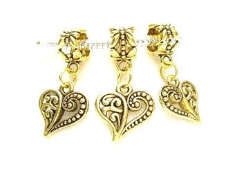 3 Tibean Gold / Antique Gold Plated, Cut Out Heart, Euro Dangle Charm Bracelet Beads - European Style - Large Hole Bead