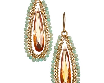 Earrings Champagne CZ and Amazonite Gold fill