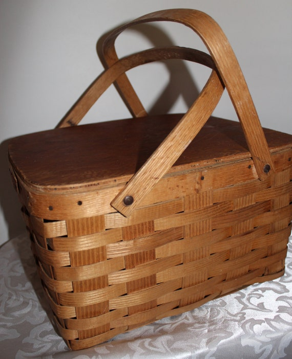 Picnic Basket Pie : Double pie picnic basket woven wood
