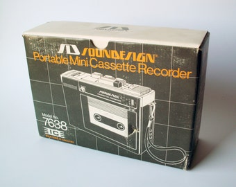 Vintage 70s Soundesign Mini Cassette Recorder Model No. 7638, as New in Box