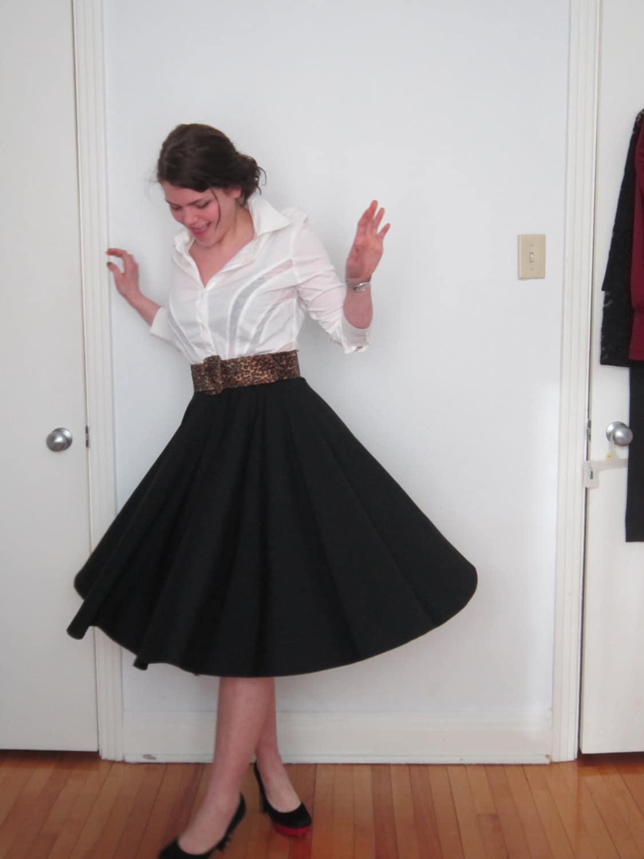 Black Knee length Full Circle Skirt Swing skirt Rockabilly