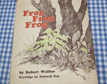 SALE frog, frog, frog, vintage 1971 children's book