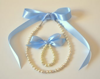Babby blue Flower girl jewelry set adjustable necklace and stretchy bracelet with swarovski crystal balls wedding jewelry  flower girl gift