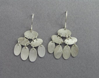 Dangle Silver Earrings - Chandelier Earrings - Sequins Earrings - Oval Discs - Sterling Silver Jewelry