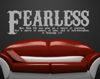 Wall Decal Bible Verse Scripture Wall Decal - 2 Timothy 1:7 Fearless Vinyl Sticker Art 22107