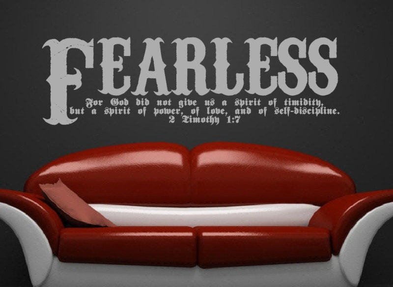 Fearless Wall Decal Bible Verse  Timothy Scripture Wall - Bible verse wall decals