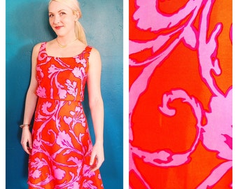 Vintage 1970s Hawaiian Dress - Bright Orange and Pink Floral Silk Knee Length  Size - Medium - 6