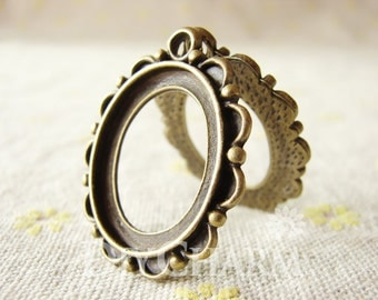 Antique Bronze Tone Cameo Cabochon Base Settings Frame 33x27mm ( Inner Size 23x19mm ) - 5Pcs - DS19534