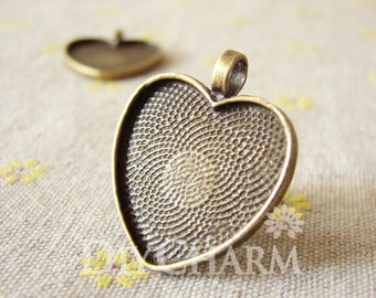 Heart Shaped Cameo Cabochon Base Settings 33x28mm ( Inner Size 25x25mm ) - 5Pcs - DS23925