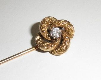 14K Vintage Yellow Gold Diamond Stick Pin w 1/4 Carat Diamond  3.6GR