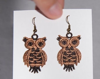 Lace Owl Earrings - Machine Embroidered Owl Earrings