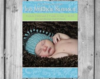 Beautiful Custom Birth Announcement