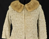 Vintage Maggie-Chase Original Beige Ribbon Rose Mink Fur Collar Cropped Bolero Jacket
