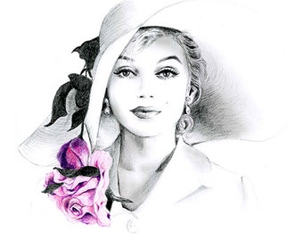 Pencil Drawing - Black and White - Marilyn Monroe with Hat and Rose