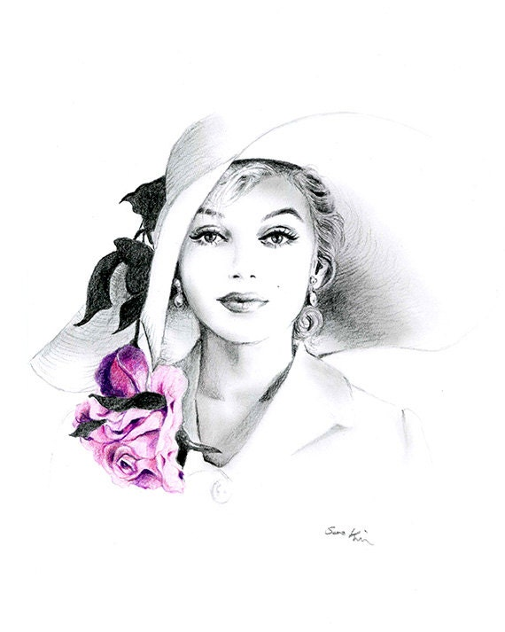 Items similar to pencil drawing black and white - Dessin marilyn monroe ...