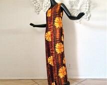 MOD Hawaiian Dress Vintage 1960s 1970s Tie Dye FLOWERS Orange Brown Lightweight Crepe Fabric Maxi Dress Tiki Bar Attire Polynesian Tropical