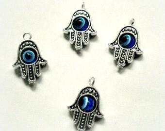 Silver hamsa charms, evil eye, hand of God, good luck, protection, movable eye, kabbalah, 5pcs