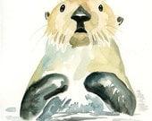 SEA OTTER 5x7 Print-Art Print-animal Watercolor Print-Giclee Print--Children's Wall Art