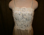 1960's Patricia Greene Couture White Sleeveless Gown with Beaded Lace Top