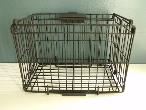 Folding Metal Crate Black Industrial Basket Storage