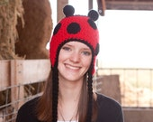 Crochet  Lady Bug Hat in Child, Teen and Adult sizes