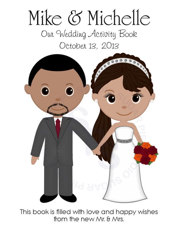 Printable Wedding Book Cover ~ Wedding coloring activity book pdf or jpeg by sugarpiestudio