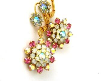 Rose and Aqua starburst Earrings Drop Dangle Earrings Handmade Jewelry Crystal Flower earrings Aqua Blue Rose crystal Handmade earrings
