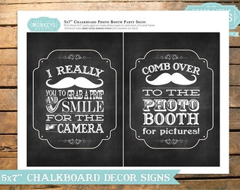 Little Man or Little Mister Mustache Chalkboard 5 x 7 inch Photo Booth Signs - INSTANT DOWNLOAD