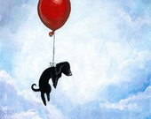 Black Dog Print, 8x10 Wall Art, Red Balloon, Dachshund Picture, Animal Illustration, Pet Decor, Dog Owner Gift, Blue Sky