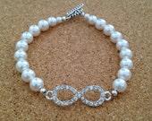 INFINITY Silver Rhinestone & PEARL Bracelet - Swarovski White Crystal Pearls - Bride - Bridesmaid - Wedding - Engagement - Any Size - USA