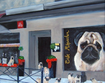 "Pug Art Print of an original oil painting / ""Cafe Mopschen"" / 8 x 10 / Dog Art"