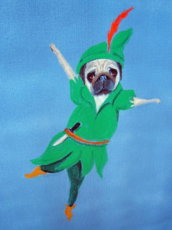 "Pug Art Print/ "" Pugger Pan "" / 8 x 10/Dog Art"