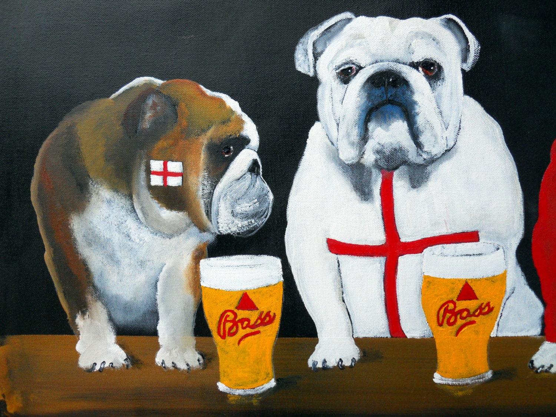 English Bulldog Art Print of an original oil painting