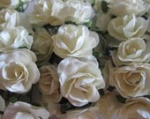 Mini White Rose Buds Paper Flower for Party Favors, Card Making, Wedding Accessories, 1/2 inch Wide, 144 roses