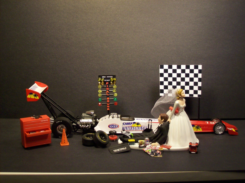 Auto Mechanic Dragster Top Fuel Racing Bride Groom Wedding