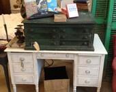 desk and Vintage Spool Cabinet