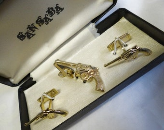 Gun Tie Bar and Cuff Links Set - In Original Box - Vintage New Old Stock