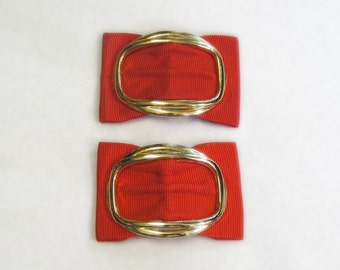 Red Bow Shoe Clips with Gold - Vintage - New Old Stock