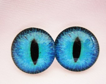 Blue cat eyes 18mm cabochon glass eyes