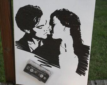 Titanic cassette tape art ORIGINAL 11x14in