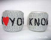 Mug Cozy, Set of 2,  I Love you  I Know, Personalized Mug Cozy, any color, any word, red heart, grey color, Valentines day,
