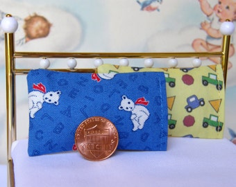 Dollhouse Miniature Set of 2 Bed Pillows - 1:12 scale